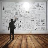 Il pallone della lampadina della tenuta dell'uomo di affari e vede al concetto di affari sulla parete Fotografia Stock