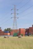 Il palo ad alta tensione nella zona industriale è vicino all'agricoltura Fotografia Stock Libera da Diritti