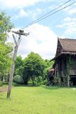 Il palo ed il greensward elettrici di legno, vecchia casa tailandese tradizionale con l'albero è salita lungo la parete fotografia stock