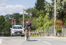 Il palo Laengen - Criterium du Dauphine 2017 di Vegard del ciclista Fotografia Stock Libera da Diritti
