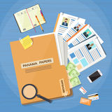Il Panama Papers Folder Documents Offshore Company illustrazione vettoriale