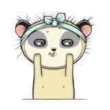 Il panda ottiene un facial, il trattamento isolato e facciale Fotografia Stock Libera da Diritti
