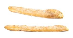 Il pane del Baguette ha isolato Fotografie Stock