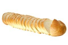Il pane del taglio isolato sui precedenti bianchi Immagine Stock