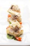 Crostini di focaccia, aperitivo pranzante fine italiano Immagine Stock Libera da Diritti