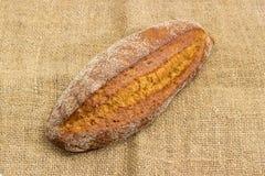Il pane nero con il tutto ha germogliato i grani del grano su tela di sacco Fotografia Stock
