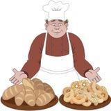Il panettiere offre il pane o i panini Fotografia Stock Libera da Diritti