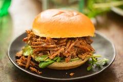 Il panino dolce del petto di manzo del barbecue del panino con crescione va immagini stock