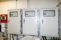 Il pannello di controllo elettrico contiene i bottoni di commutatore per il funzionamento della i Immagine Stock