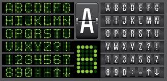 Il pannello elettronico del tabellone segnapunti segna l'alfabeto con lettere Fotografie Stock