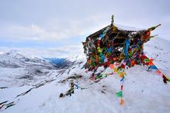Il panno degli scriptures nella progettazione rotabile del Tibet fotografie stock