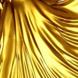 Il panno di seta dorato del raso piega il fondo Fotografie Stock Libere da Diritti
