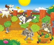 Il panorama dell'azienda agricola - posto di divertimento - illustrazione per i bambini Fotografia Stock