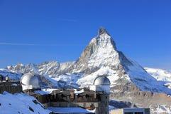 Il panorama della montagna e la vista gloriosa del Cervino da Gornergrat Le alpi, Svizzera Fotografia Stock