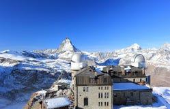 Il panorama della montagna e la vista gloriosa del Cervino da Gornergrat Le alpi, Svizzera Fotografia Stock Libera da Diritti