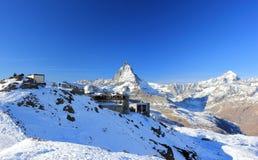 Il panorama della montagna e la vista gloriosa del Cervino da Gornergrat Le alpi, Svizzera Immagine Stock