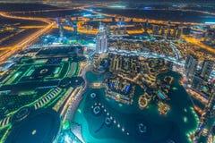 Il panorama della notte Dubai durante il tramonto Fotografia Stock Libera da Diritti