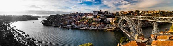Il panorama preso a Ribeiro fa Oporto, Oporto, Portogallo Fotografia Stock Libera da Diritti