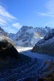 Il Panoramic Mer de Glace nelle alpi, vicino a Chamonix-Mont-Blanc Fotografia Stock