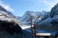 Il Panoramic Mer de Glace nelle alpi, vicino a Chamonix-Mont-Blanc Immagini Stock Libere da Diritti