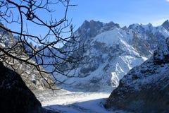 Il Panoramic Mer de Glace nelle alpi, vicino a Chamonix-Mont-Blanc Fotografie Stock