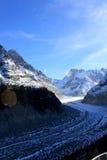 Il Panoramic Mer de Glace nelle alpi, vicino a Chamonix-Mont-Blanc Fotografia Stock Libera da Diritti