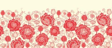 Il papavero rosso fiorisce il modello senza cuciture orizzontale illustrazione vettoriale