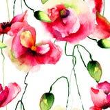 Il papavero stilizzato fiorisce l'illustrazione Fotografia Stock