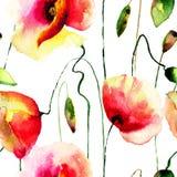 Il papavero stilizzato fiorisce l'illustrazione Immagini Stock