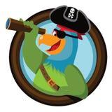 Il pappagallo del pirata del fumetto guarda dall'oblò Fotografia Stock