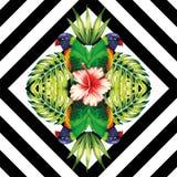 Il pappagallo, le piante e gli ibischi fioriscono lo stile dello specchio geometrico Immagini Stock Libere da Diritti