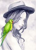 Il pappagallo verde Fotografia Stock