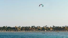 Il paracadute dal kitesurfing sorvola il bordo dell'acqua contro il chiaro cielo blu di estate, sulla spiaggia archivi video