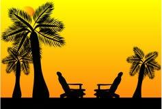 il paradiso mette la siluetta a sedere Fotografia Stock Libera da Diritti