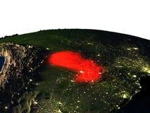 Il Paraguay da spazio alla notte Fotografia Stock