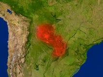Il Paraguay da spazio nel rosso Fotografia Stock Libera da Diritti