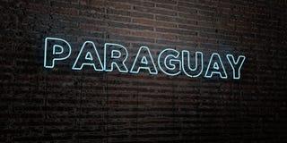 Il PARAGUAY - insegna al neon realistica sul fondo del muro di mattoni - 3D ha reso l'immagine di riserva libera della sovranità Fotografia Stock Libera da Diritti