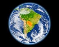 Il Paraguay nel rosso da spazio Immagine Stock