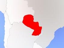 Il Paraguay nel rosso sulla mappa Fotografie Stock