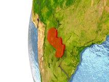 Il Paraguay sul globo Fotografia Stock