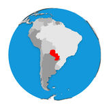 Il Paraguay sul globo Fotografie Stock