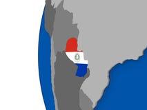 Il Paraguay sul globo Immagini Stock Libere da Diritti