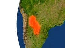 Il Paraguay sul globo Immagini Stock
