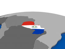 Il Paraguay sul globo 3D Fotografie Stock Libere da Diritti