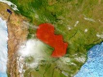 Il Paraguay sulla mappa con le nuvole Immagine Stock Libera da Diritti