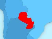 Il Paraguay sulla mappa 3D Fotografia Stock Libera da Diritti