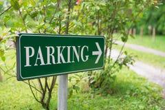 Il parcheggio firma dentro il parco Fotografia Stock Libera da Diritti