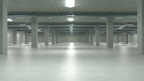 Il parcheggio interno, fabbricato industriale, svuota il parcheggio sotterraneo illustrazione 3D Fotografie Stock Libere da Diritti
