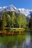 Il parco a Chamonix-Mont-Blanc nel tramonto Immagine Stock