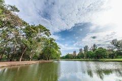 Il parco e l'erba del landscap in città Fotografie Stock